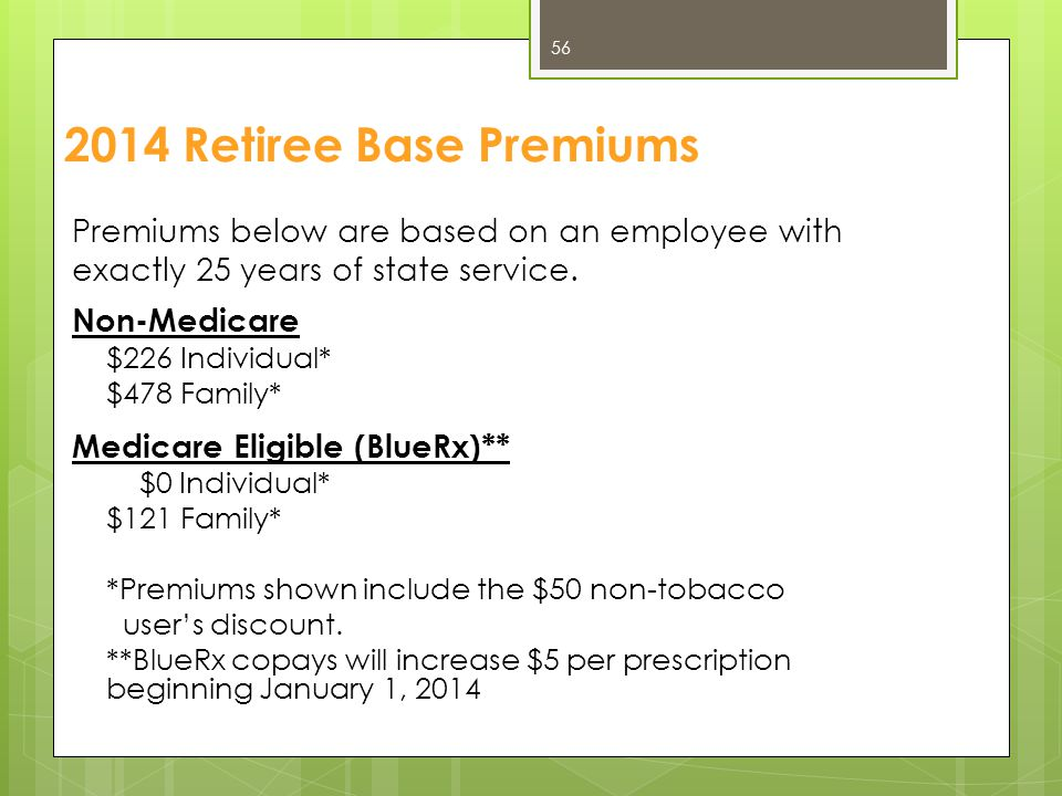 2014 Retiree Base Premiums Premiums below are based on an employee with. exactly 25 years of state service.