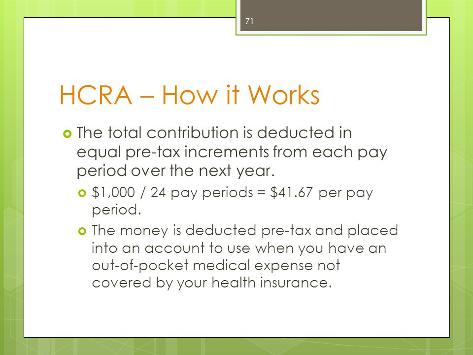 HCRA – How it Works The total contribution is deducted in equal pre-tax increments from each pay period over the next year.