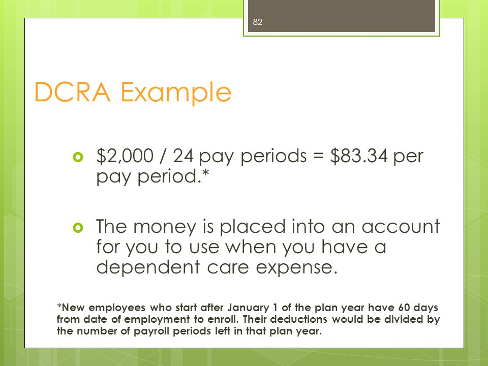 DCRA Example $2,000 / 24 pay periods = $83.34 per pay period.*