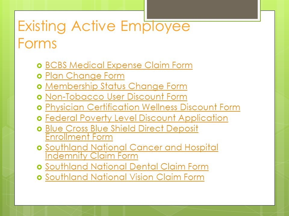 Existing Active Employee Forms