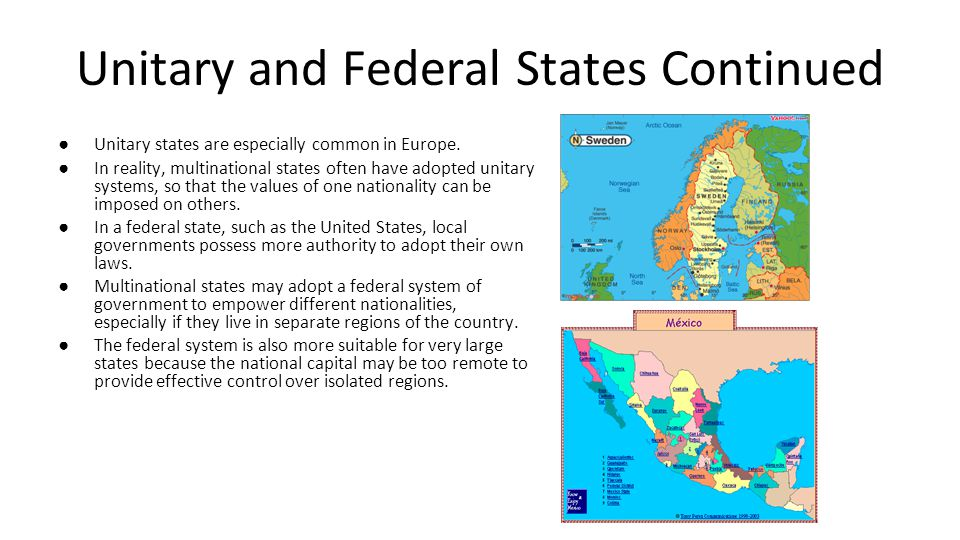 Unitary and Federal States Continued