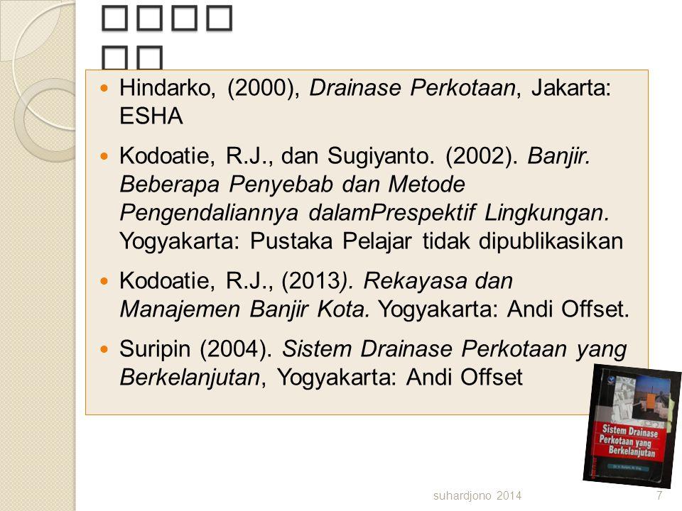 Bacaan Hindarko, (2000), Drainase Perkotaan, Jakarta: ESHA