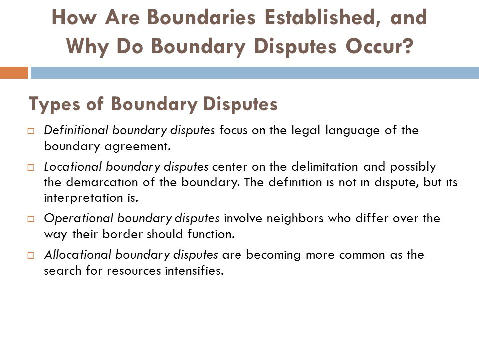 Types of Boundary Disputes