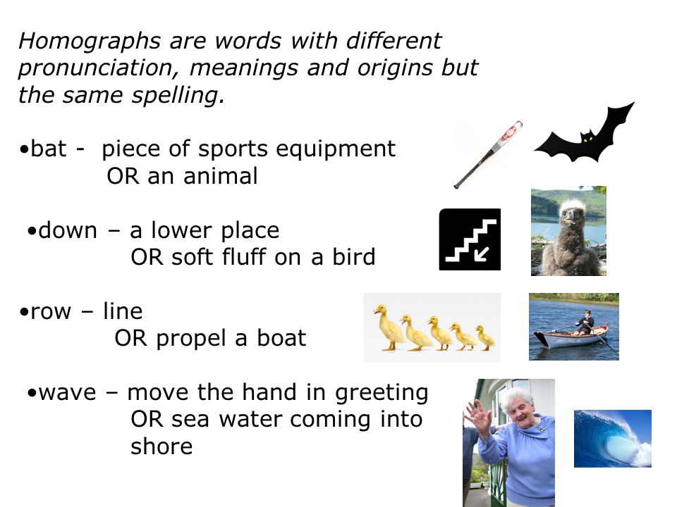 Homographs are words with different pronunciation, meanings and origins but the same spelling.