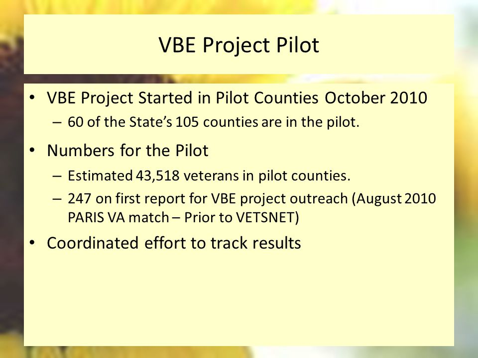 VBE Project Pilot VBE Project Started in Pilot Counties October 2010
