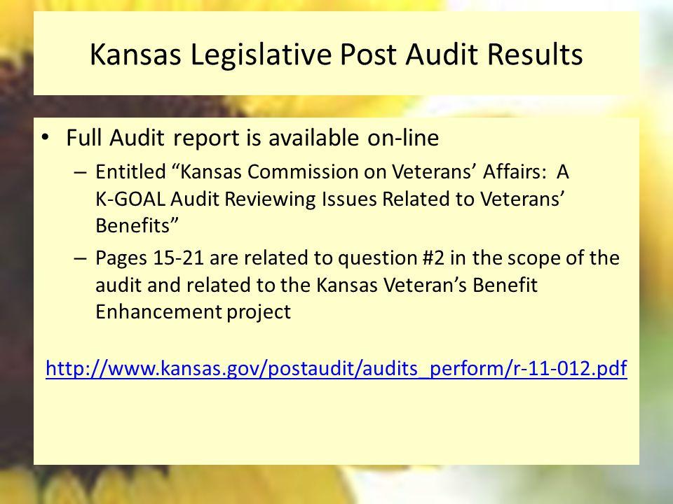 Kansas Legislative Post Audit Results