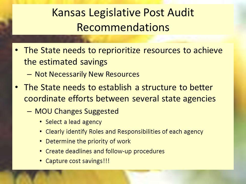 Kansas Legislative Post Audit Recommendations