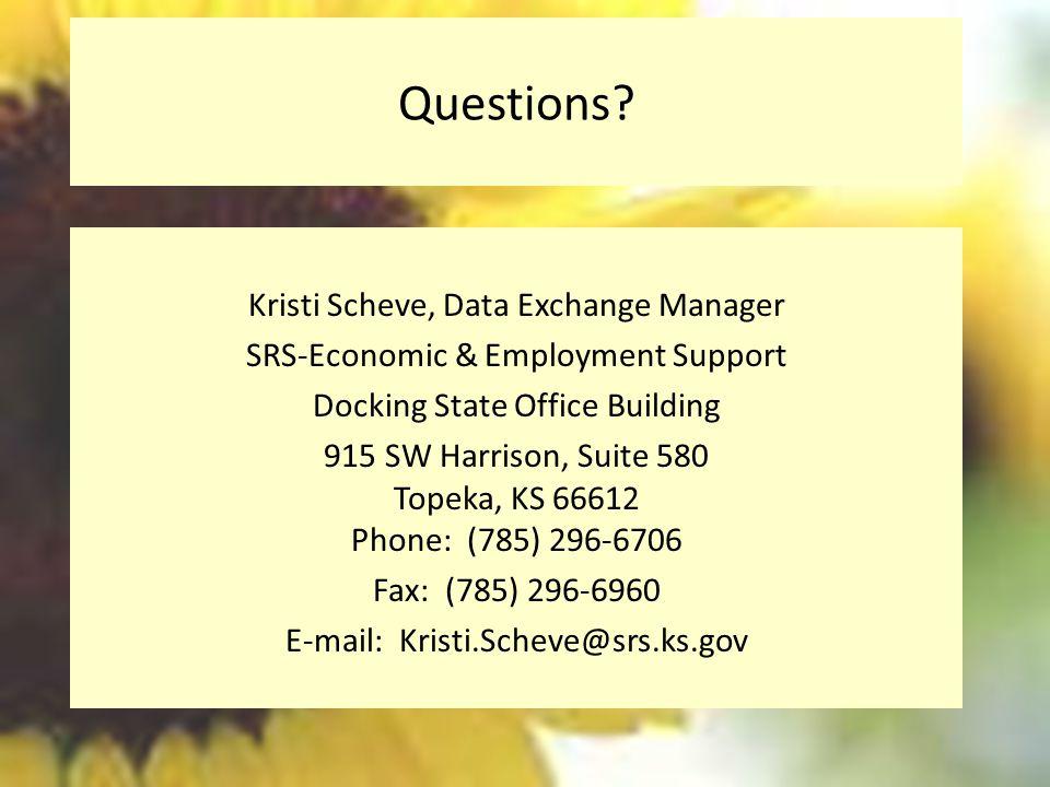 Questions Kristi Scheve, Data Exchange Manager
