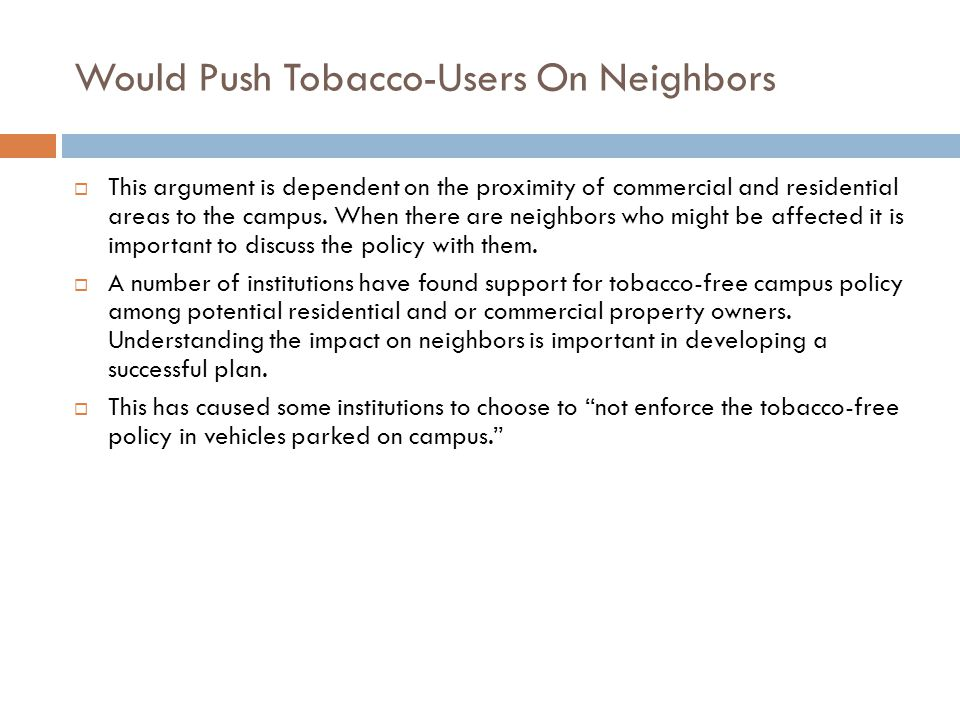 Would Push Tobacco-Users On Neighbors