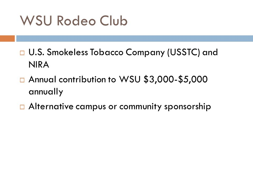 WSU Rodeo Club U.S. Smokeless Tobacco Company (USSTC) and NIRA