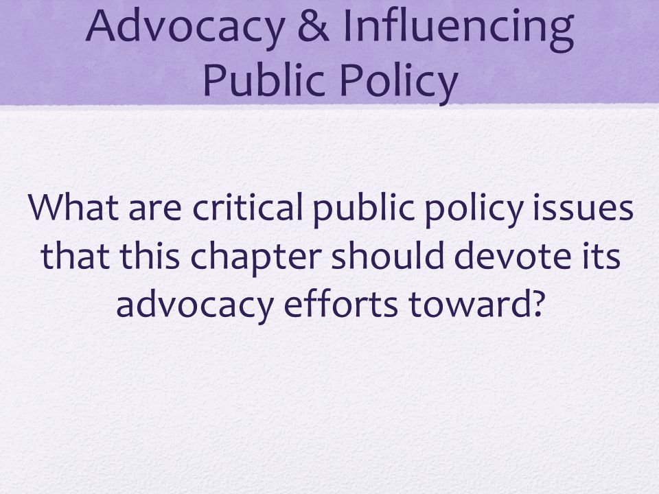 Advocacy & Influencing Public Policy