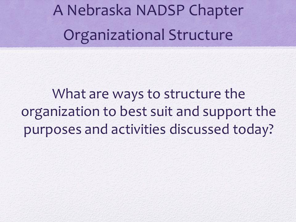 A Nebraska NADSP Chapter Organizational Structure