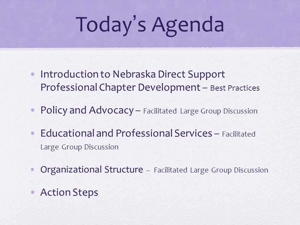 Today's Agenda Introduction to Nebraska Direct Support Professional Chapter Development – Best Practices.