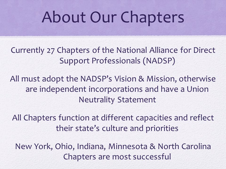 About Our Chapters Currently 27 Chapters of the National Alliance for Direct Support Professionals (NADSP)