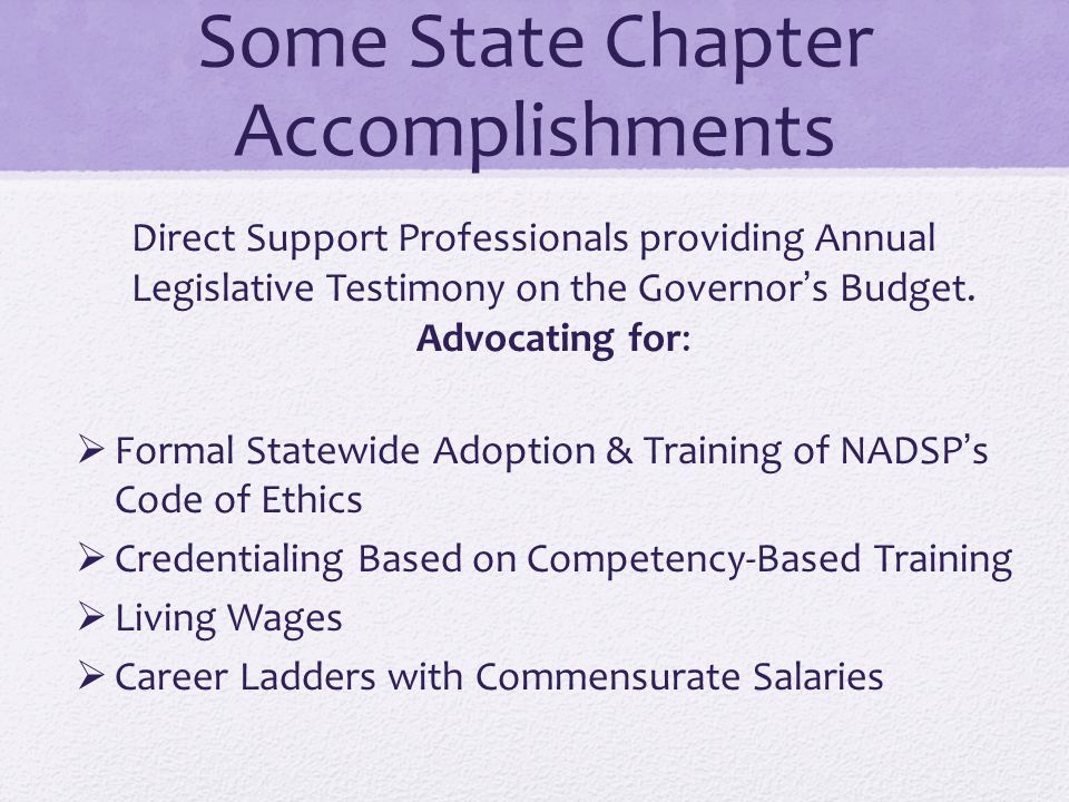 Some State Chapter Accomplishments