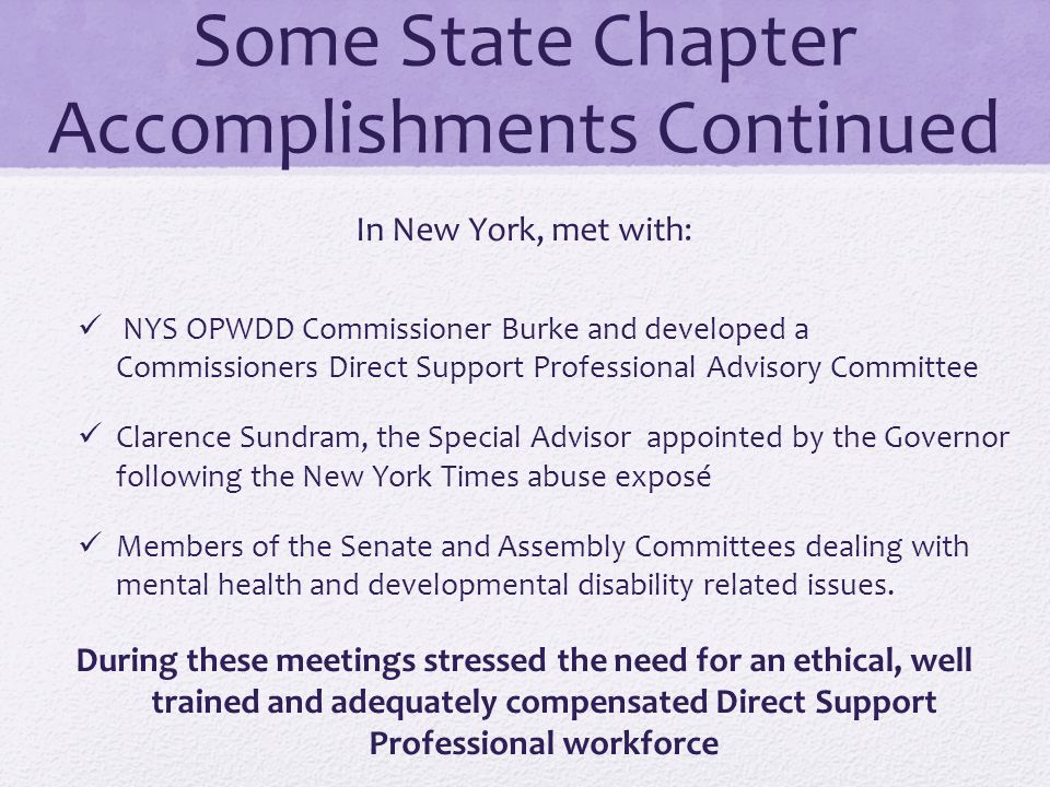 Some State Chapter Accomplishments Continued