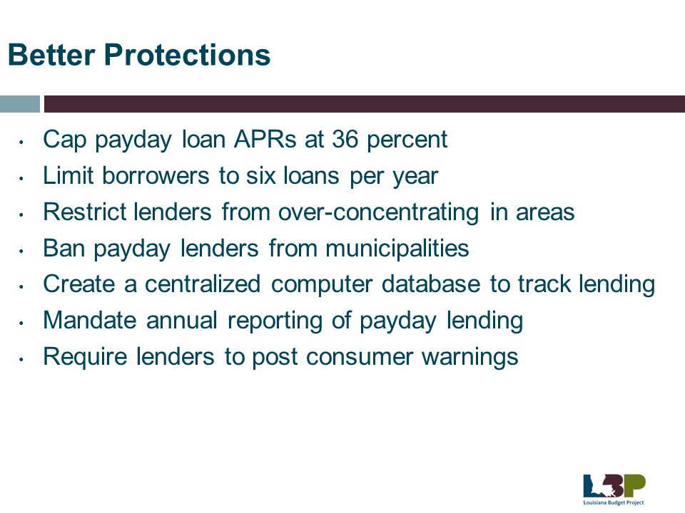 Better Protections Cap payday loan APRs at 36 percent