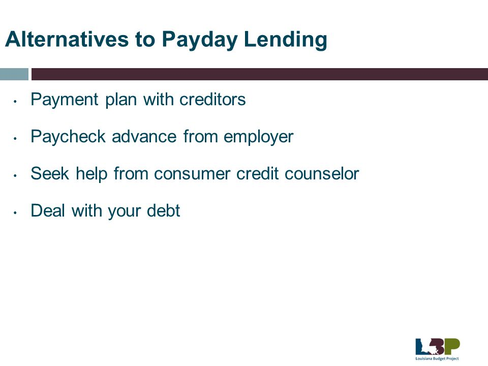 Alternatives to Payday Lending