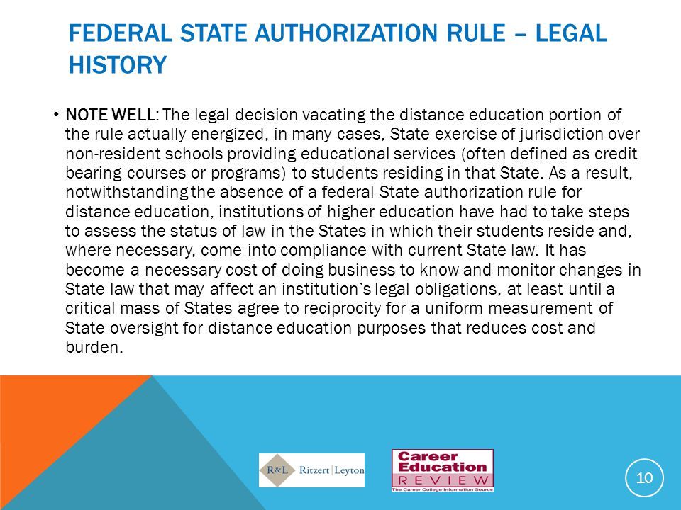 FEDERAL STATE AUTHORIZATION RULE – LEGAL HISTORY