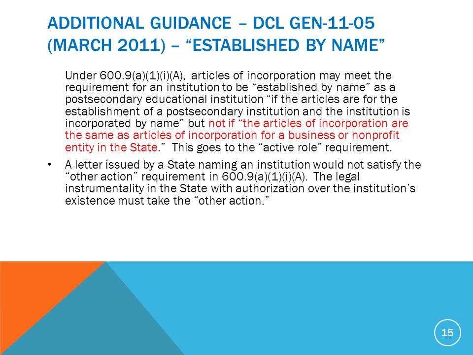 ADDITIONAL GUIDANCE – DCL GEN (MARCH 2011) – ESTABLISHED BY NAME