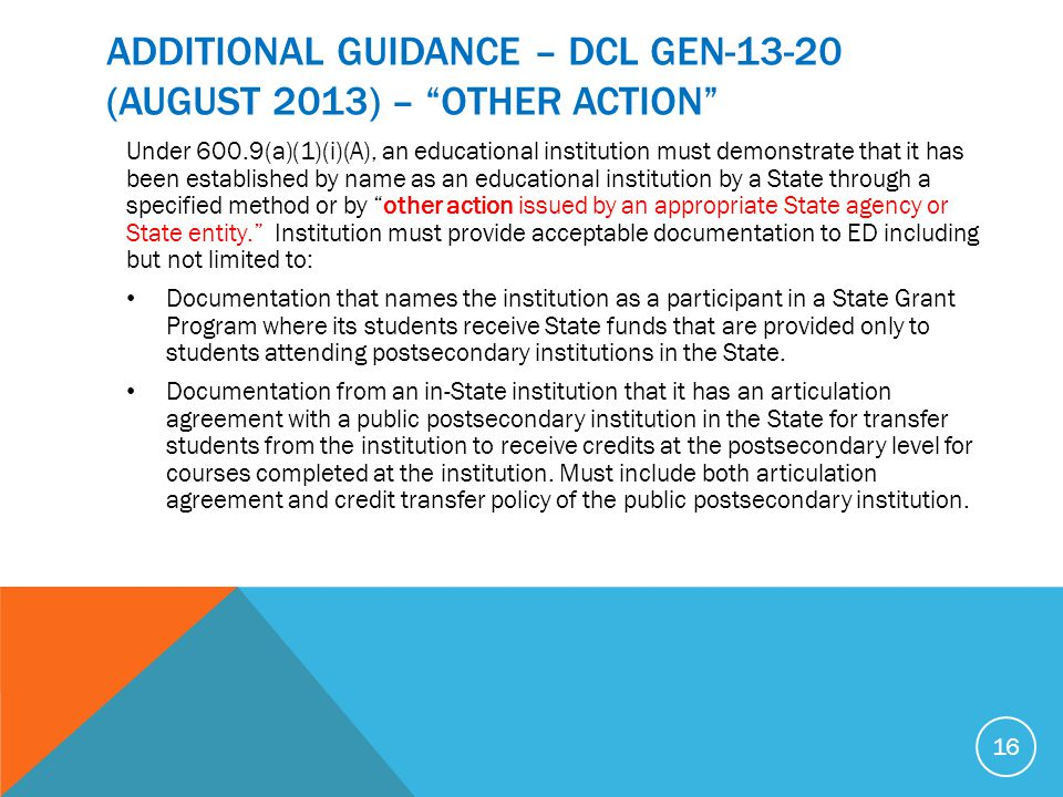 ADDITIONAL GUIDANCE – DCL GEN (August 2013) – OTHER ACTION