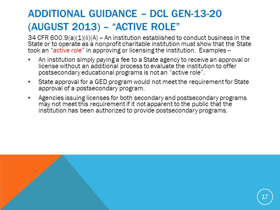 ADDITIONAL GUIDANCE – DCL GEN (AUGUST 2013) – ACTIVE ROLE