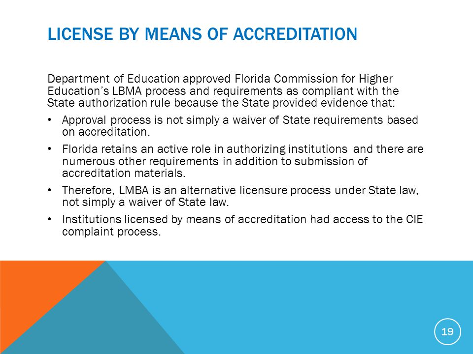 License by means of Accreditation