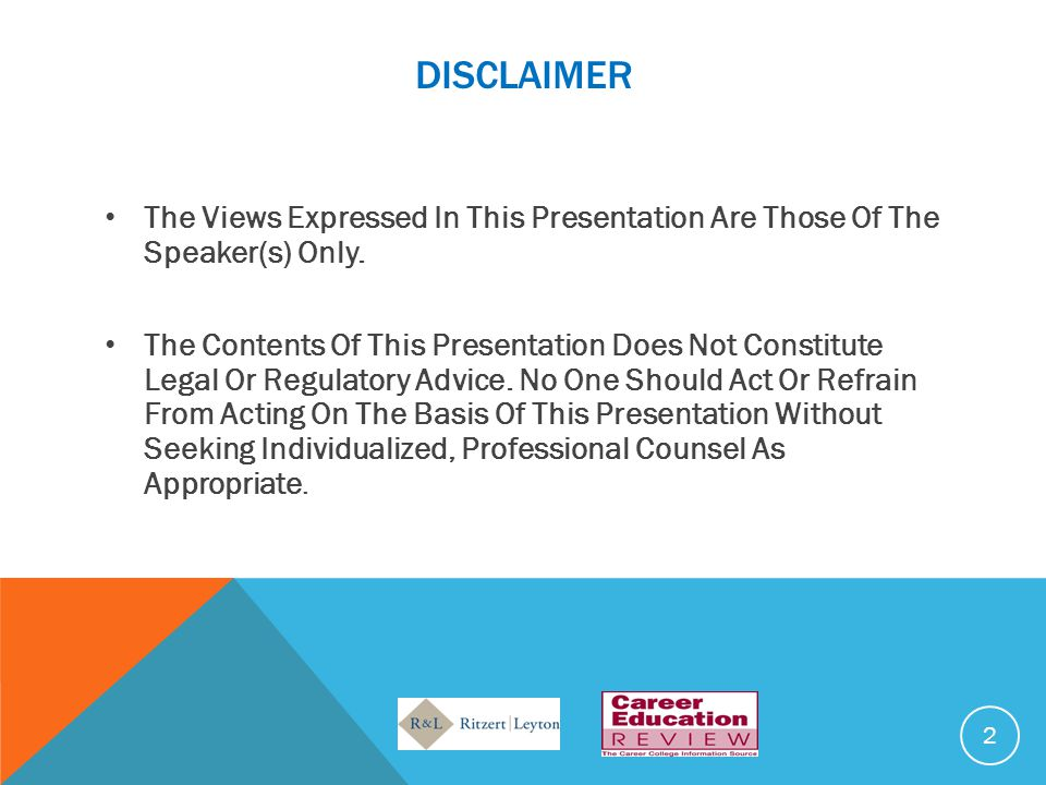 disclaimer The Views Expressed In This Presentation Are Those Of The Speaker(s) Only.
