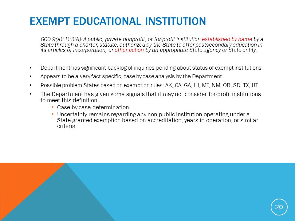 EXEMPT Educational InstitutioN