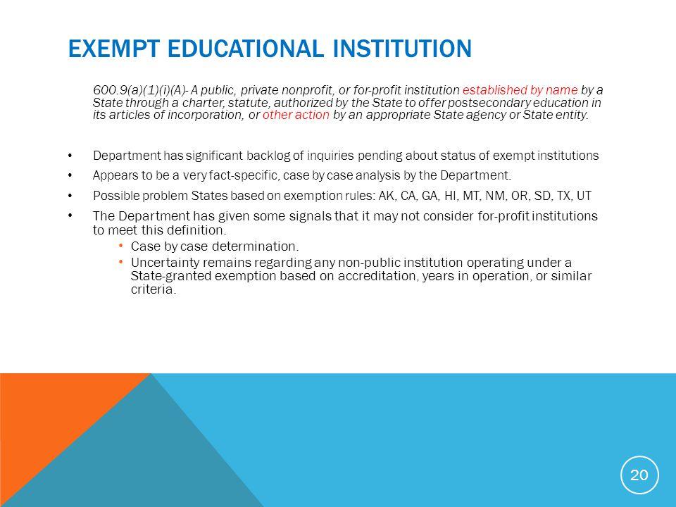 EXEMPT Educational InstitutioN