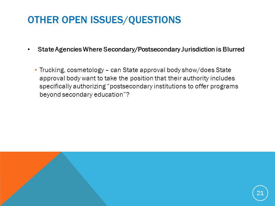 OTHER OPEN ISSUES/Questions