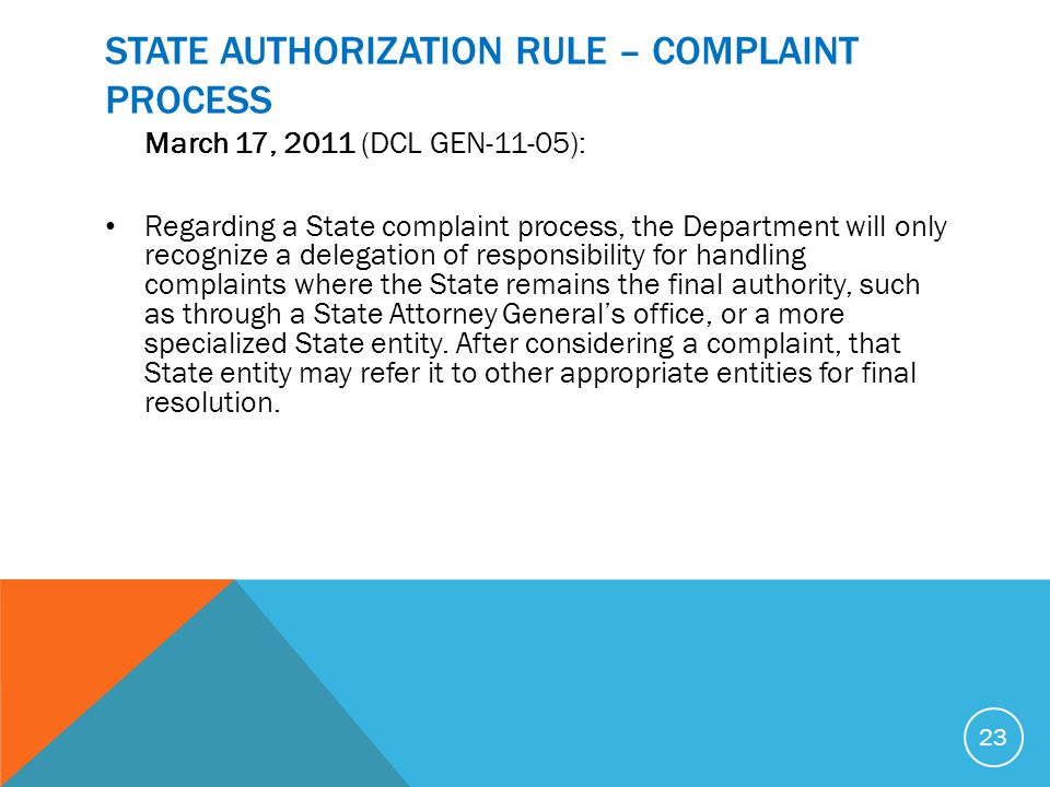 STATE AUTHORIZATION RULE – COMPLAINT PROCESS