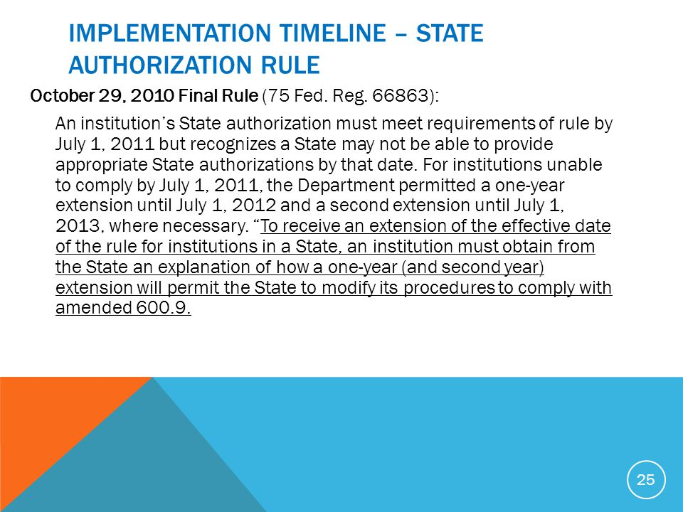 IMPLEMENTATION TIMELINE – STATE AUTHORIZATION RULE