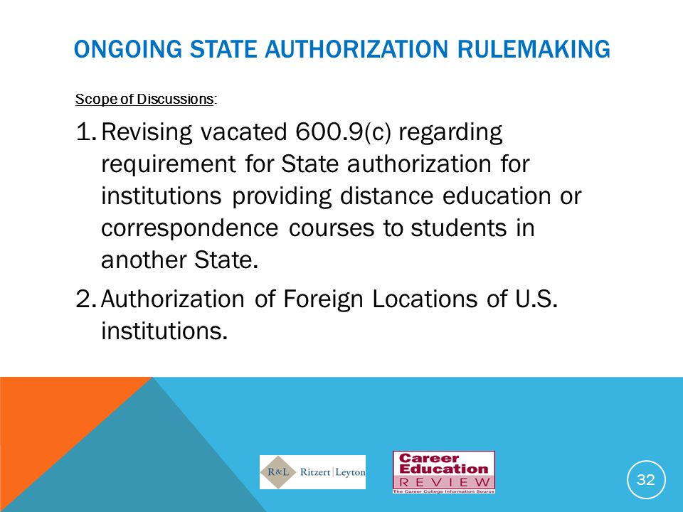 ONGOING StATE AUTHORIZATION RULEMAKING