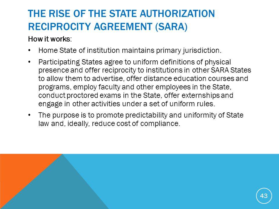 THE RISE OF THE STATE AUTHORIZATION RECIPROCITY AGREEMENT (SARA)
