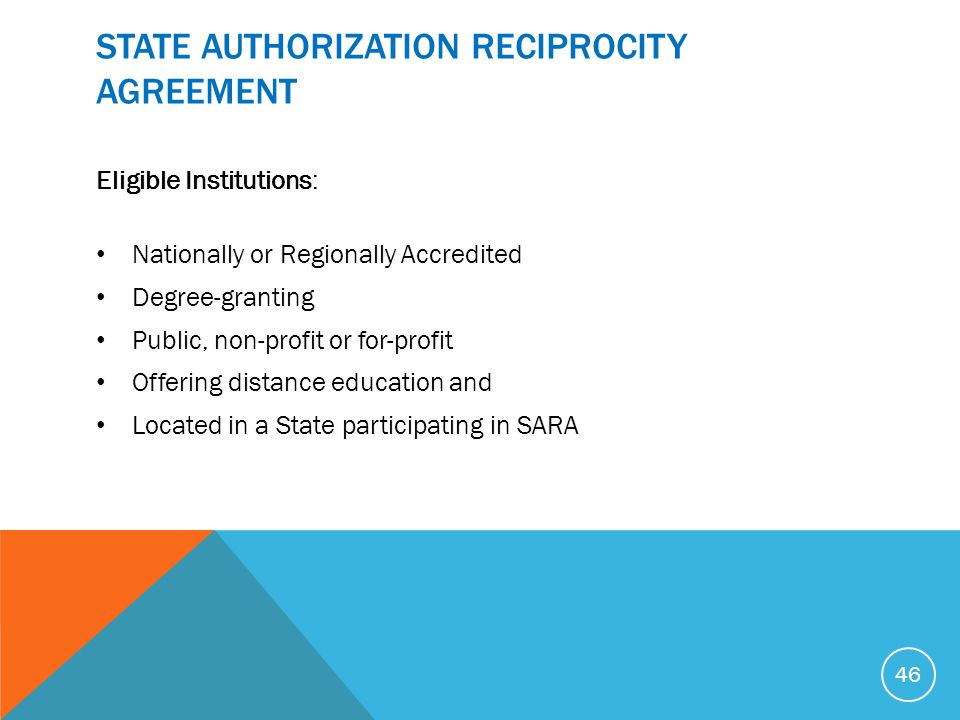 STATE AUTHORIZATION RECIPROCITY AGREEMENT