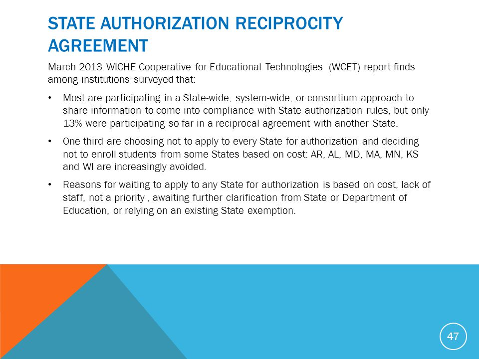 STATE AUTHORIZATION RECIPROCITY AGREEMENT