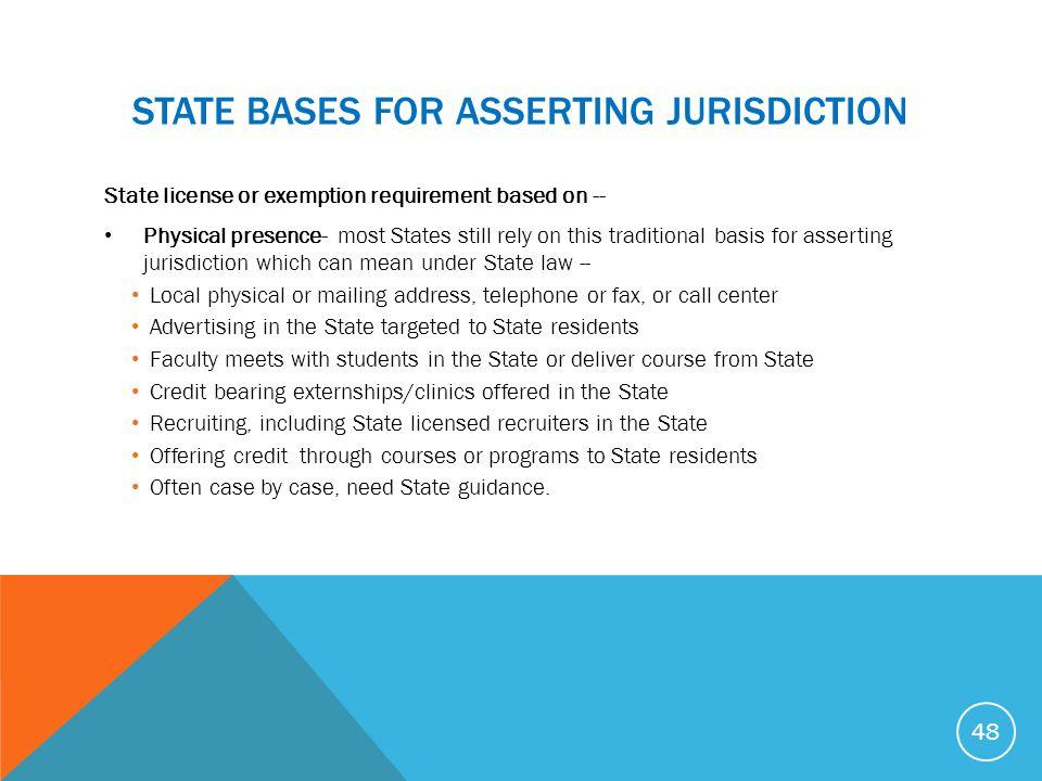STATE bASES FOR ASSERTING JURISDICTION