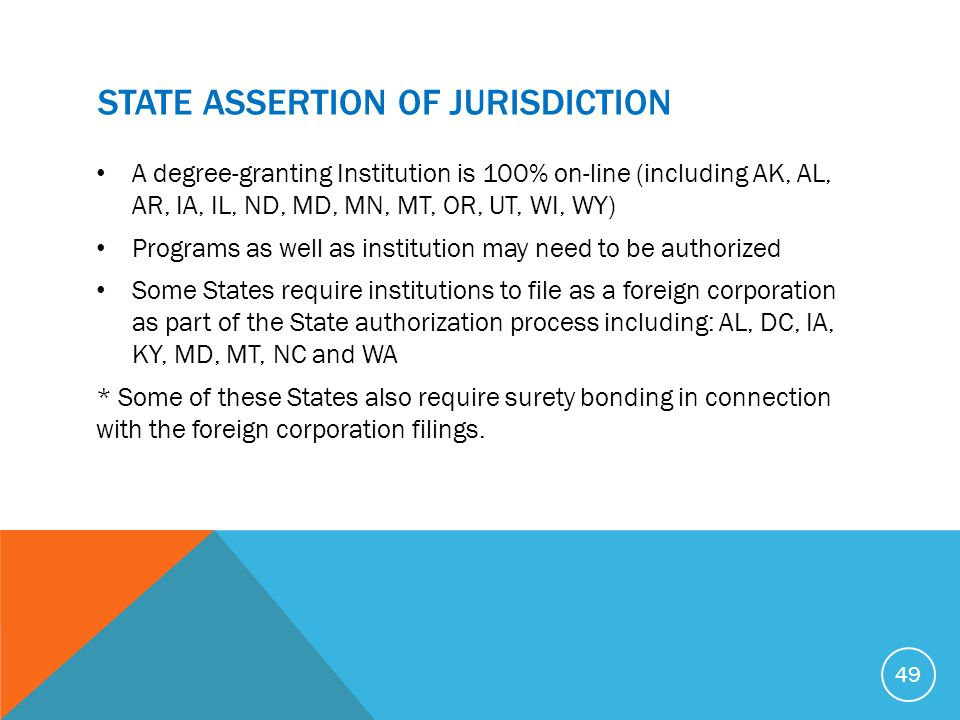 State ASSERTION OF JURISDICTION