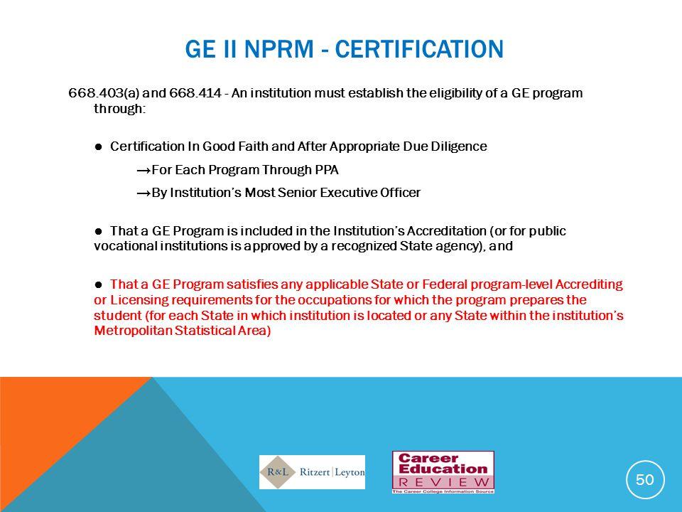 GE II NPRM - CERTIFICATION