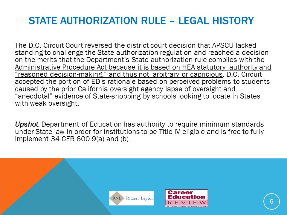 STATE AUTHORIZATION RULE – LEGAL HISTORY