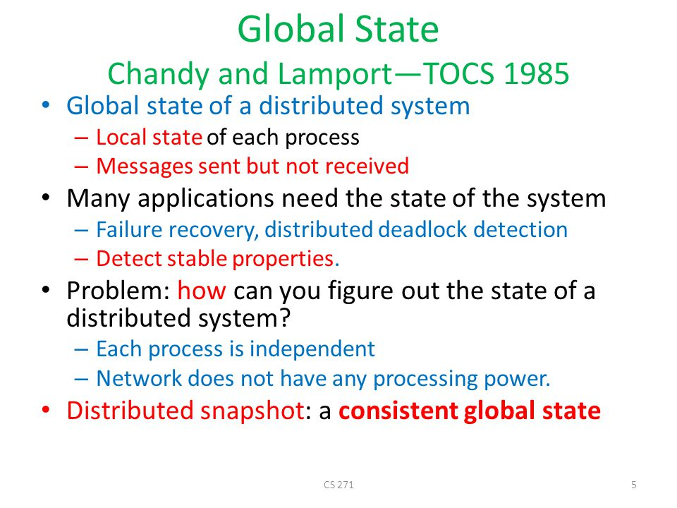 Global State Chandy and Lamport—TOCS 1985