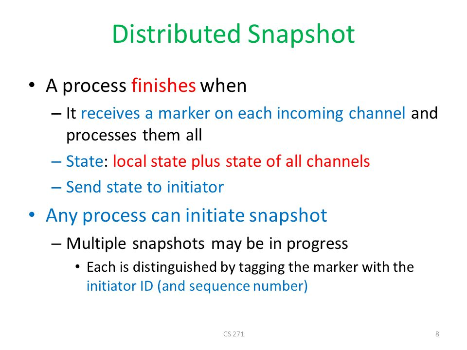 Distributed Snapshot A process finishes when