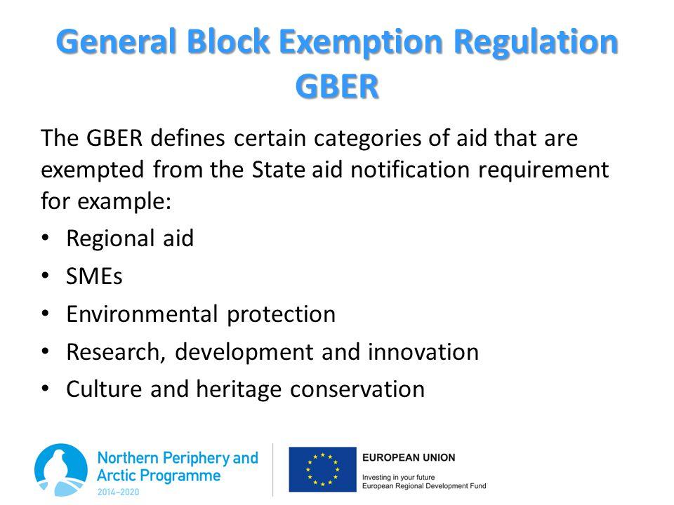 General Block Exemption Regulation GBER
