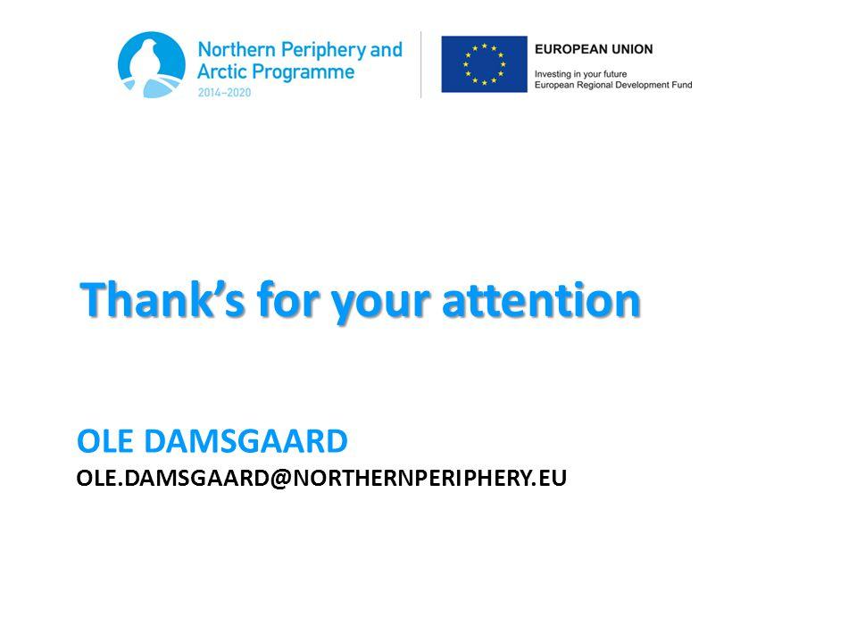 Ole damsgaard ole.damsgaard@northernperiphery.eu