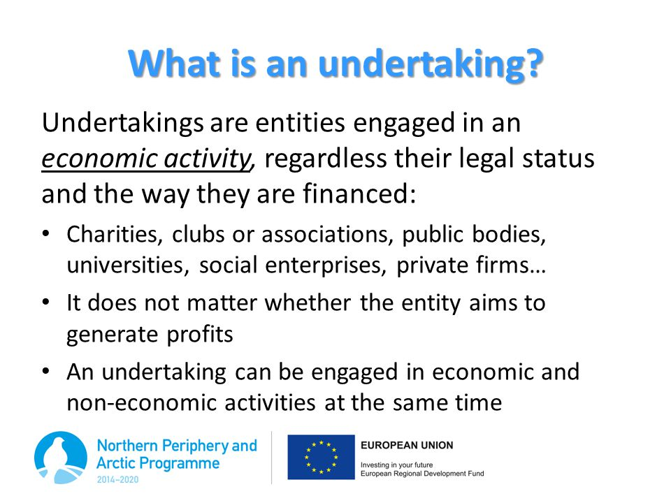 What is an undertaking Undertakings are entities engaged in an economic activity, regardless their legal status and the way they are financed: