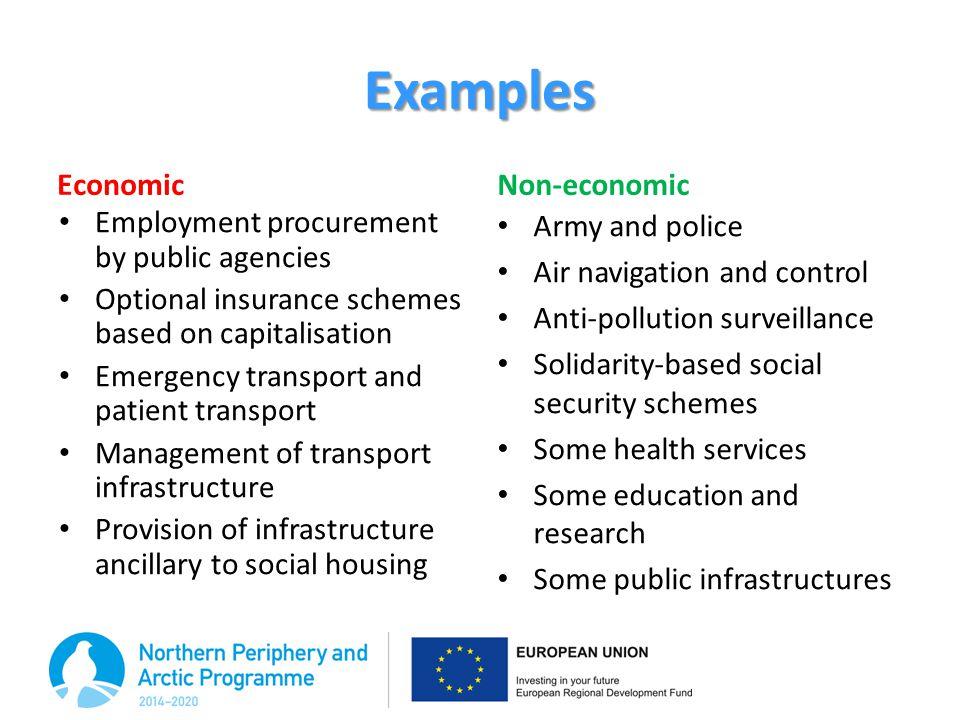 Examples Economic Non-economic