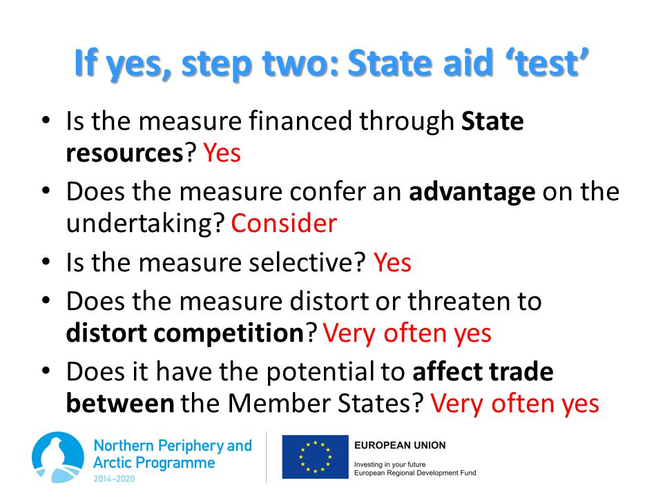 If yes, step two: State aid 'test'