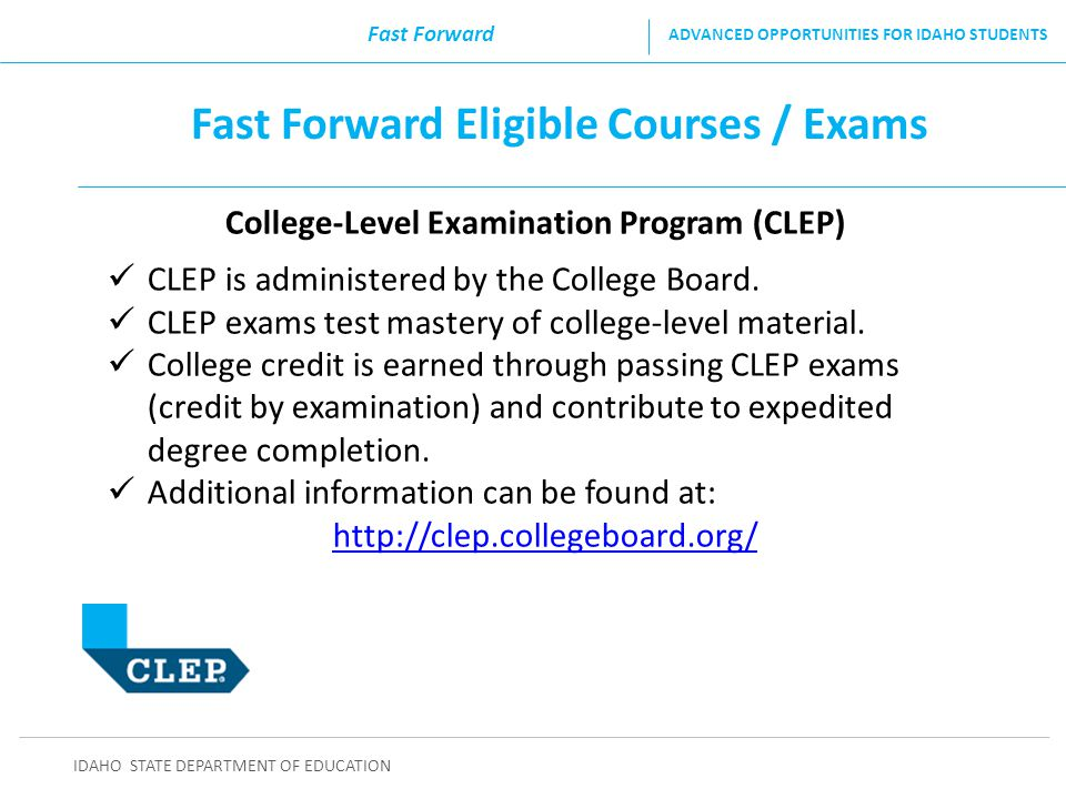 Fast Forward Eligible Courses / Exams