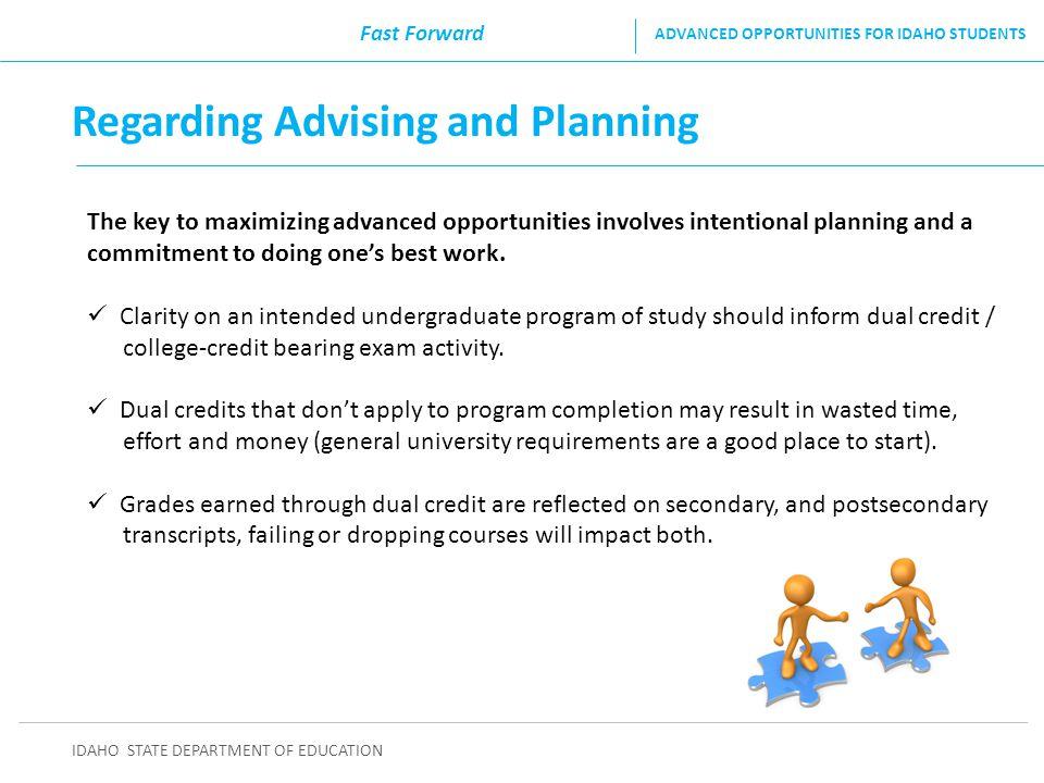 Regarding Advising and Planning